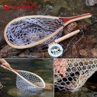 Sougayilang Fly Fishing Landing Net Outdoor Casting net Mesh Soft Rubber Wooden Handle Rubber Lanyard Rope Trout Catch Fishing