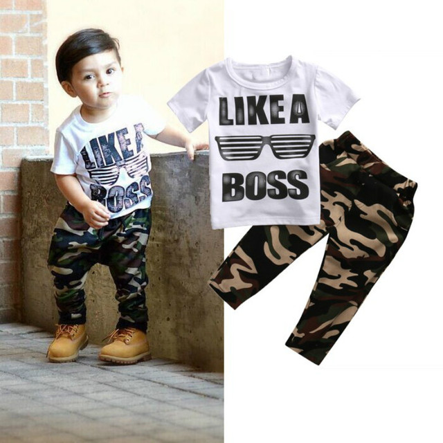 55a6ad6f Cool Boy Clothes Set Casual Newborn Kids Baby Boy LIKE A BOSS Print T-shirt  Tops Camo Pants Outfits 2Pcs Boys Kid Clothing 2-5Y