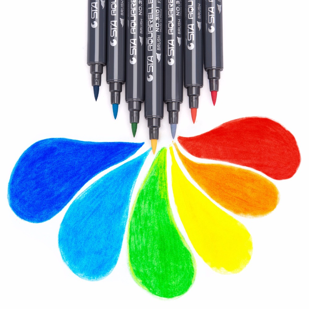 STA 12Colors Pen Marker Set Dual Head Art Markers Brush Pen Fine Tips For Drawing Manga Comic Design School Art Supplies цена