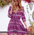 New 2017 Spring Women Bohemian Dress Beach Summer Sytle Mini Dresses Half Sleeve V-Neck  Sashes Bind Purple Kahki Color M-XXL
