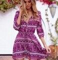 Nova primavera 2017 mulheres sytle boêmio dress praia verão mini vestidos meia manga com decote em v faixas ligar roxo kahki cor m-xxl