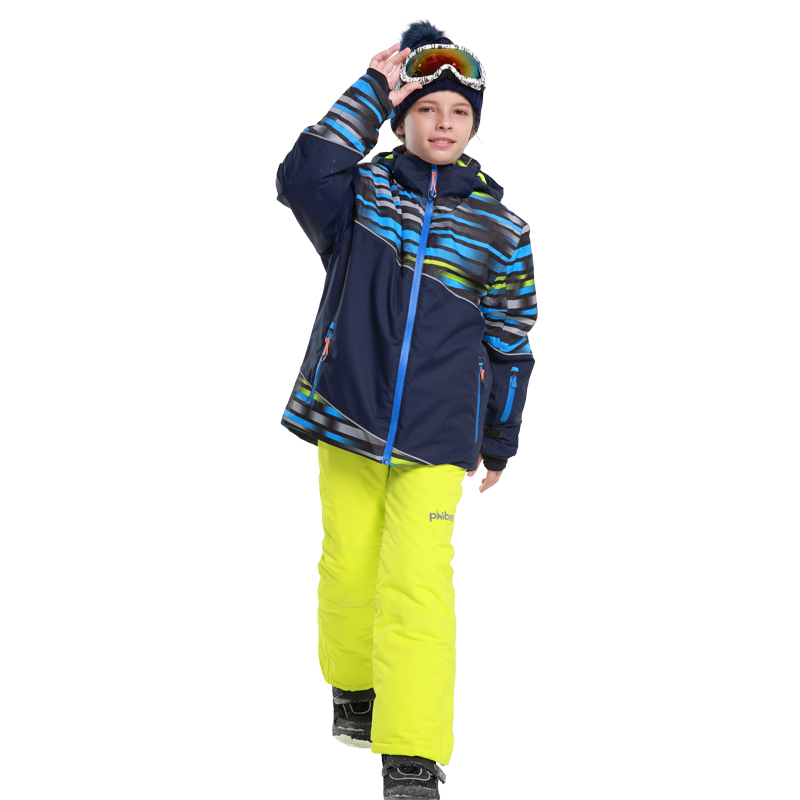 Mioigee 2018 Boys Outdoor Ski Set Waterproof Windproof Ski Jacket Pants Kids Winter Sport Suit for Boys Clothes 6-16T
