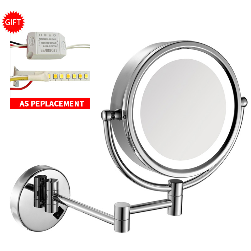 "GURUN 8.5"" Vanity led Bathroom Wall Magnifying Makeup Mirror with Lights and Magnification 10x/1x, Solid Brass, Electrical Plug"