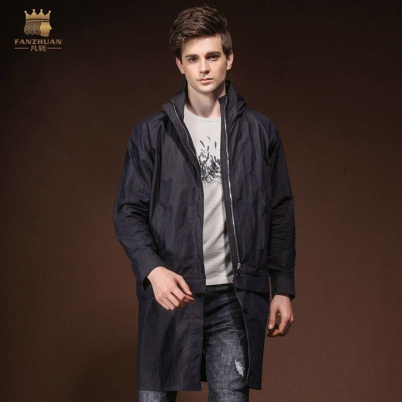 fanzhuan Free Shipping New 2018 spring summer casual slim hooded zipper style windbreaker mens male man medium long slim 820007