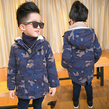2016 High quality Boys cotton long-sleeved hooded cotton camouflage coat children thickening wild long type clothing jacket