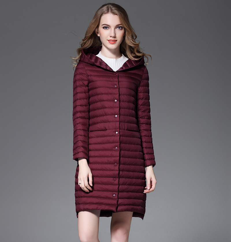 4131a45b0e7 New Spring Coat Woman White Duck Down Long Jacket Female Hooded Ultra Light  solid Jackets Winter Long Coat Fashion Parkas-in Down Coats from Women's ...