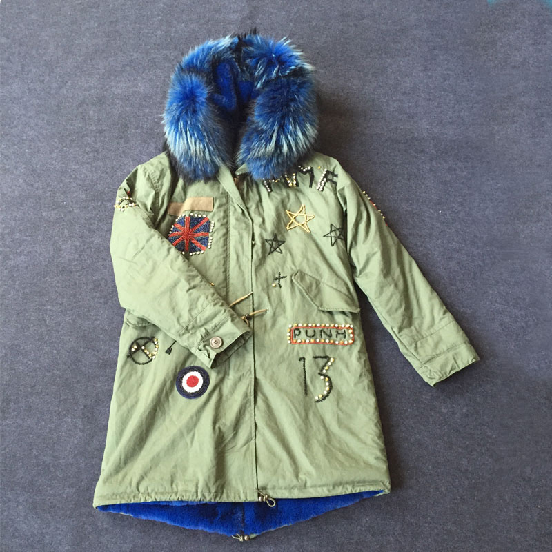 Fashion Beading Britain back and front long Army green jacket with blue fur inside and hood parka