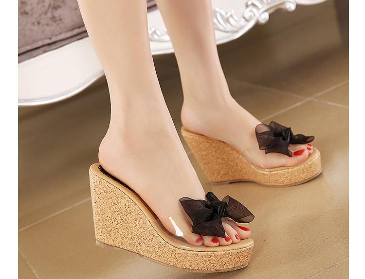 Vintage Cute Bowtie Platform Wedge Summer Sandals Cheap Cute Wedge ...