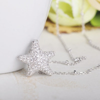 Dazz Fashion Starfish Shape Pendant Necklace Full Zircon 925 Silver Jewelry For Women Girl Daily Party Dress Accessories Present