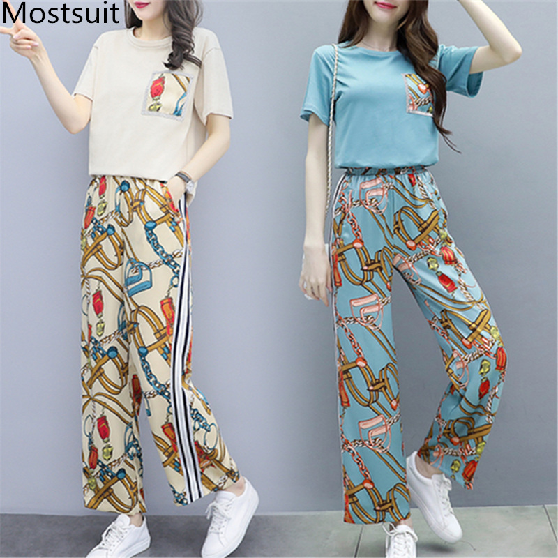 L-5xl Summer Printed Two Piece Sets Women Plus Size Short Sleeve T-shirts And Wide Leg Pants Suits Casual Fashion Women's Sets 31