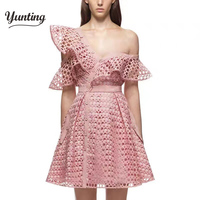 2017 Runway Summer Dress Women Sexy Off the Shoulder Ball Gown Pink Slim Hollow Out Casual Fashion Limited Party Dresses
