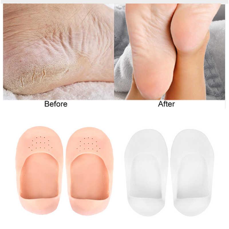 1 คู่ซิลิโคนพื้นรองเท้า Moisturizing ถุงเท้าส้นป้องกัน Crack สปาเท้าถุงเท้าเจลรองเท้า Insoles Feet Care Pedicure ถุงเท้า