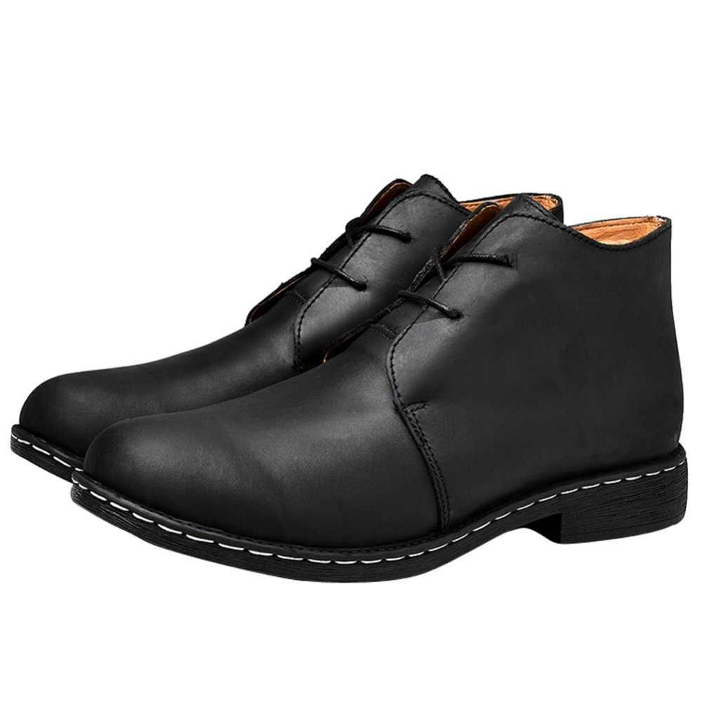 Otto zone artesanal de couro de vaca genuína botas masculinas botas de tornozelo botas masculinas com pele tamanho botas de inverno mais tamanho