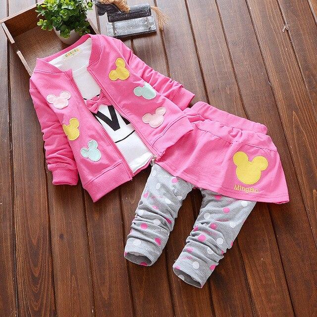 2016 осень детская одежда девочек костюм-тройку (пальто + футболка + брюки) мультфильм хлопка с длинными рукавами кардиган новорожденных девочек наборы