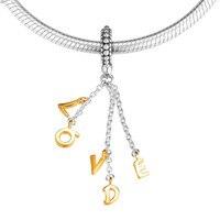 Original 925 Sterling Silver Loved Script Charm Charm Fits Pandora Bracelet Shine Loved Pendant DIY Jewelry 2019 Valentine's Day
