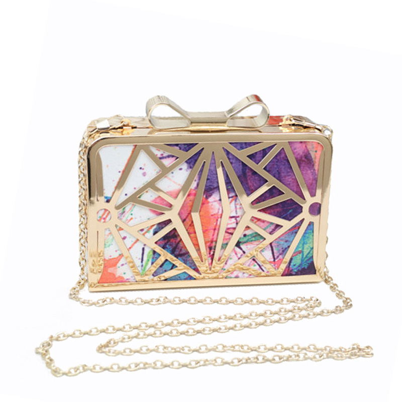 2017 Women Evening Bag Luxury Noble Rendered Printing Hand Bags Small Bow Hollow Out Leather Chain Shoulder Clutch Purse  XA326H  luxury gold silver evening purse women pink pu leather pearl hand bag chain shoulder clutch bags handbag bolso handtassen xa841h