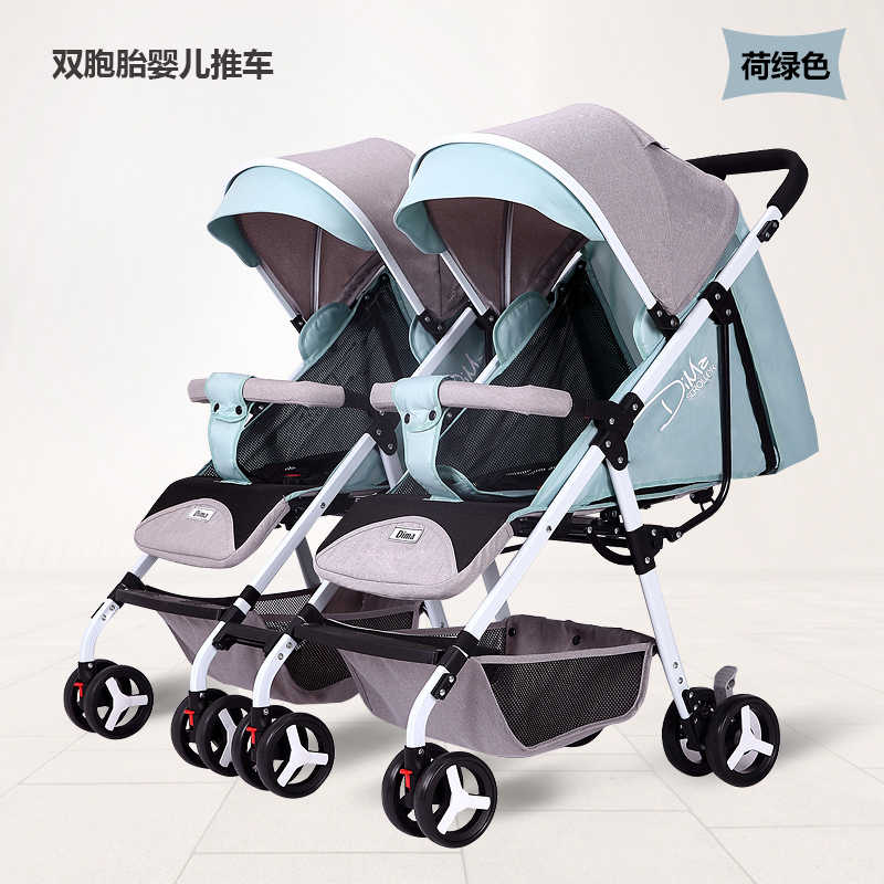 2019 New Twin Baby Stroller Lightweight Folding Can Sit Reclining Detachable Baby Carriage KidsTrolley Travel Umbrella Cart 0-4Y