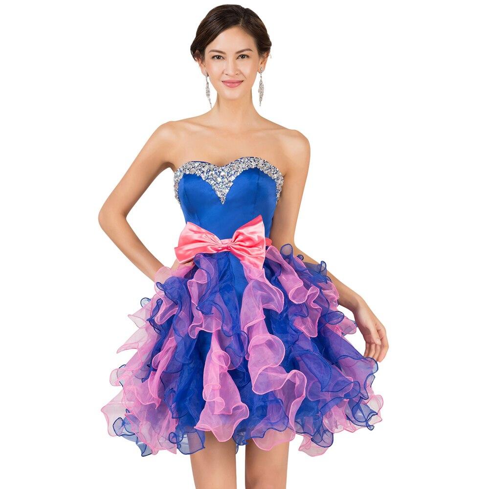Elegant Strapless Organza Semi Formal Short Homecoming Dress Prom ...