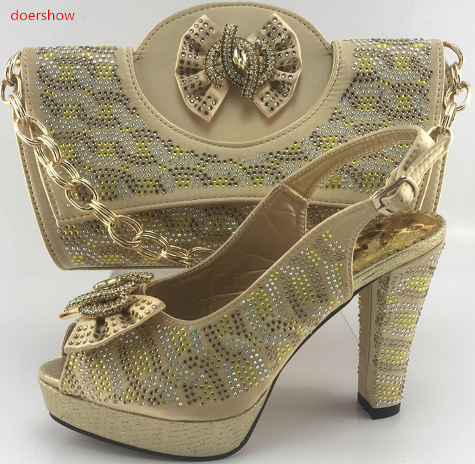 doershow gold Fashion In Women Nigerian Shoes and Bag Set for Women Ladies Matching Shoe and Bag African Shoes With Bag PMB1-5 doershow african shoes and bags fashion italian matching shoes and bag set nigerian high heels for wedding dress puw1 19
