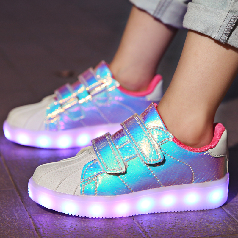 2018 New Pink Kids Led USB Charging Glowing Sneakers Children Hook Loop Fashion Luminous Shoes For Girls Boys Men Women #25-36
