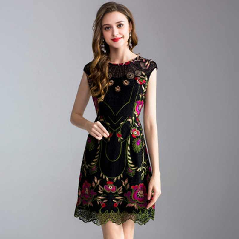 418a21f568a 2018 new spring Embroidery dresses plus size sleeveless Party Dress XXXL Fashion  Trend Women Clothing summer