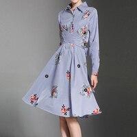 Niebieski biały pasek koszula lapel collar floral haftowane midi sukienki dla kobiet ladies przejechać muszka fit flare suknie