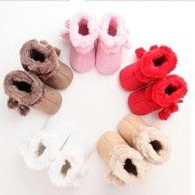 5203A 2018 новорожденных Для маленьких мальчиков девочек меховой шарик зимние сапоги теплый плюш подошва кроватка детская обувь пинетки