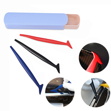 FOSHIO 3pcs Carbon Foil Vinyl Film Wrap Squeegee Long Handle Micro Wrapping Tool Glue Remove Scraper Window Tint Styling