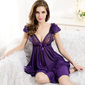 XXL High Quality Nightdress+G-String Lace Splicing Women Sleepwear Deep V-Neck Sexy Women Nightwear Mini Short Ladies Nightgowns