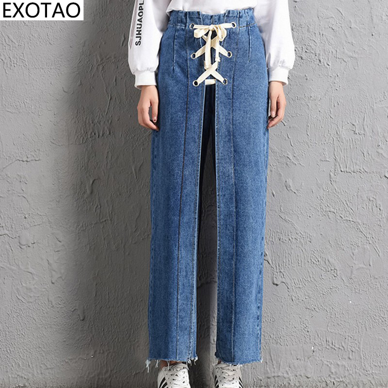 EXOTAO Pockets High Wasit Denim Jeans Women Bandage Wide Leg Pants Pantalon Mujer Casual Washed Cuffs Femme Trousers Autumn exotao high wasit jeans women casual loose pockets spliced denim trousers feminina wide leg pants full length jeans female 2017