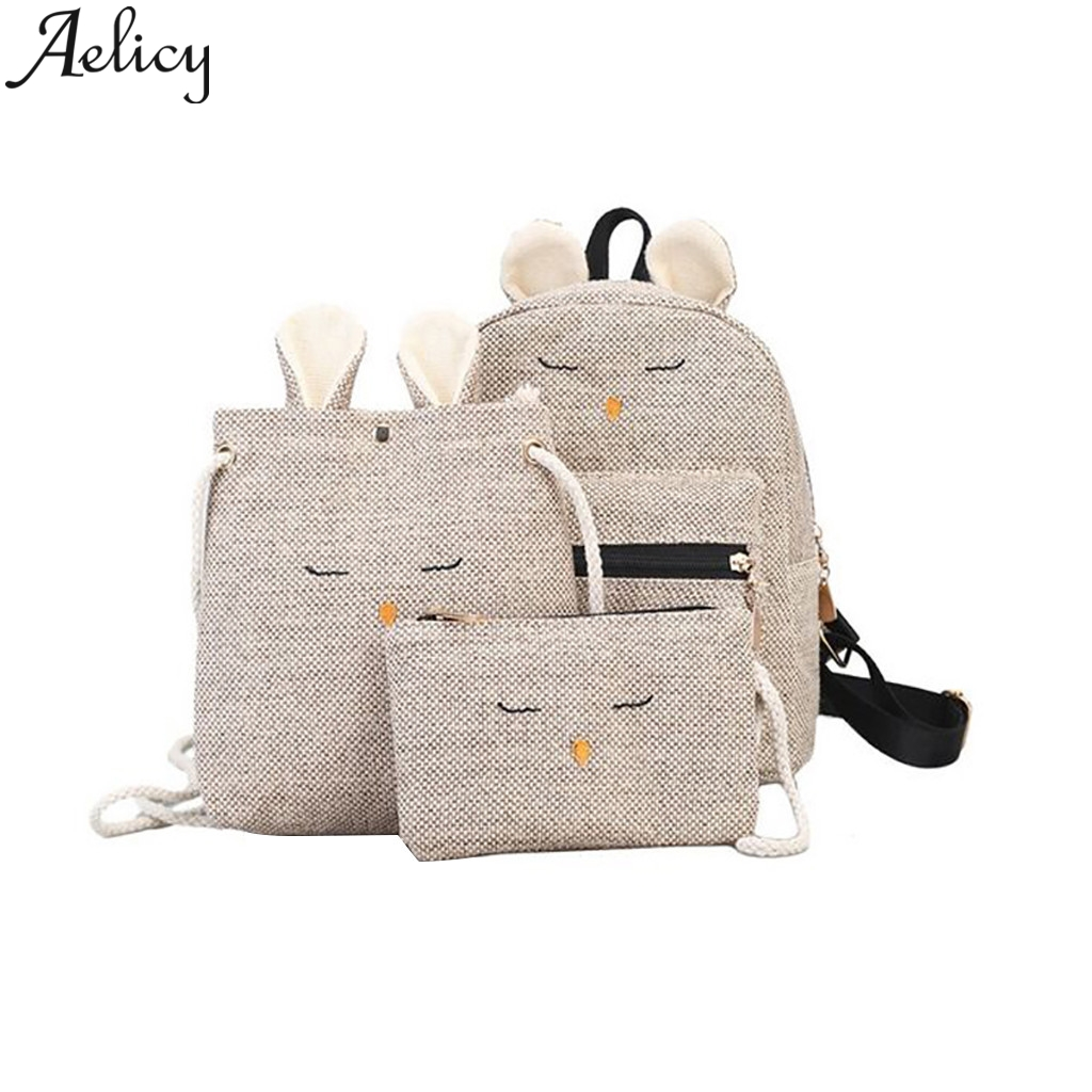 Aelicy  2019 Women Color Matching Wild Fashion Leisure Travel Bag Student Bag Backpack 3PC High Quality Soft PU Leather TravelAelicy  2019 Women Color Matching Wild Fashion Leisure Travel Bag Student Bag Backpack 3PC High Quality Soft PU Leather Travel