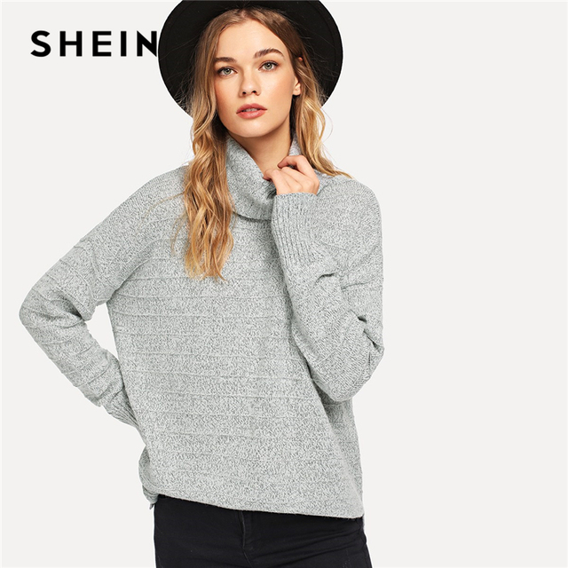 01b6feb6962 SHEIN gris elegante Highstreet cuello rodado dobladillo Marled suéter 2018  otoño Streetwear moda mujeres suéteres