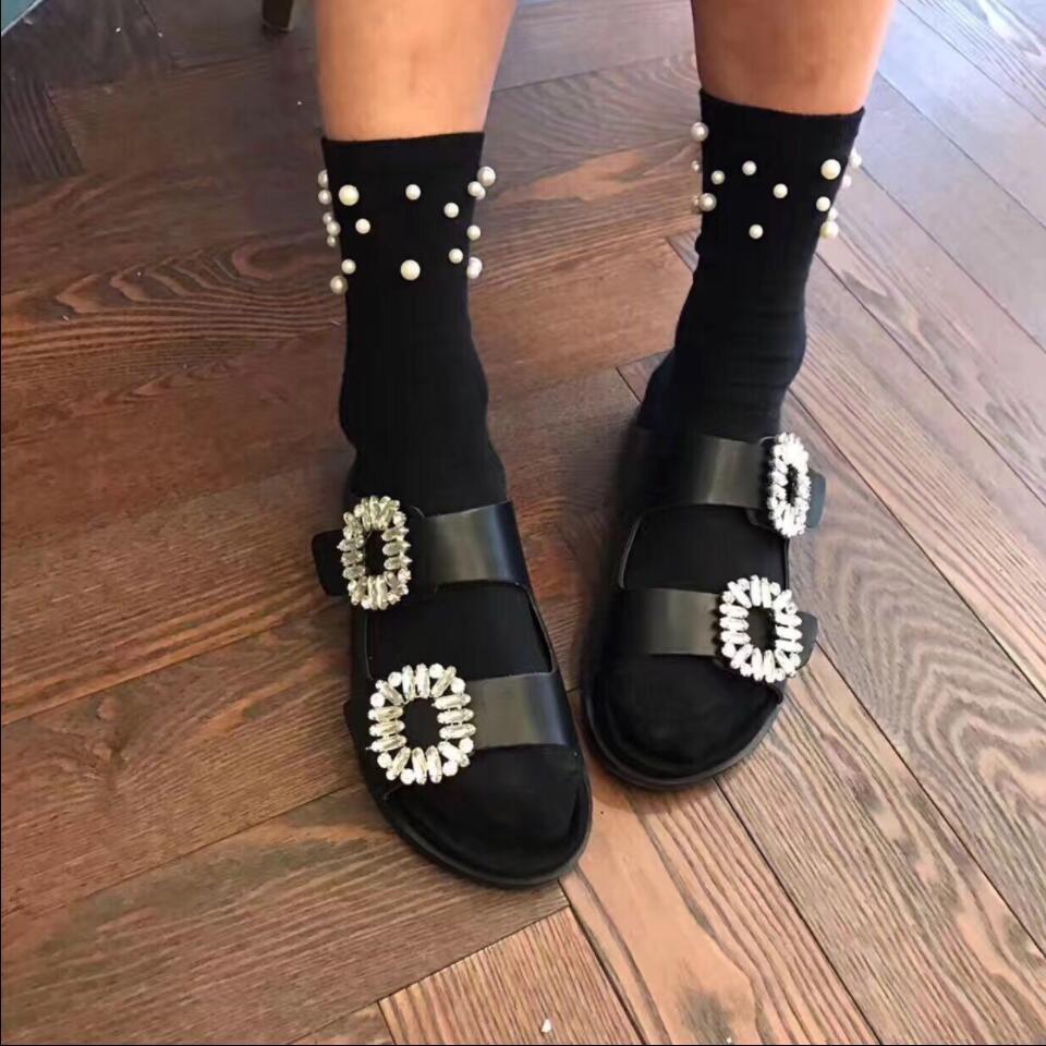 Detail Feedback Questions about Koovan Women s Slipper 2018 New Women  Fashion Crust Buckle Rhinestone Lazy Slipper Belt Girls Shoes Ladies Summer  Sandals on ... 409d5d690803