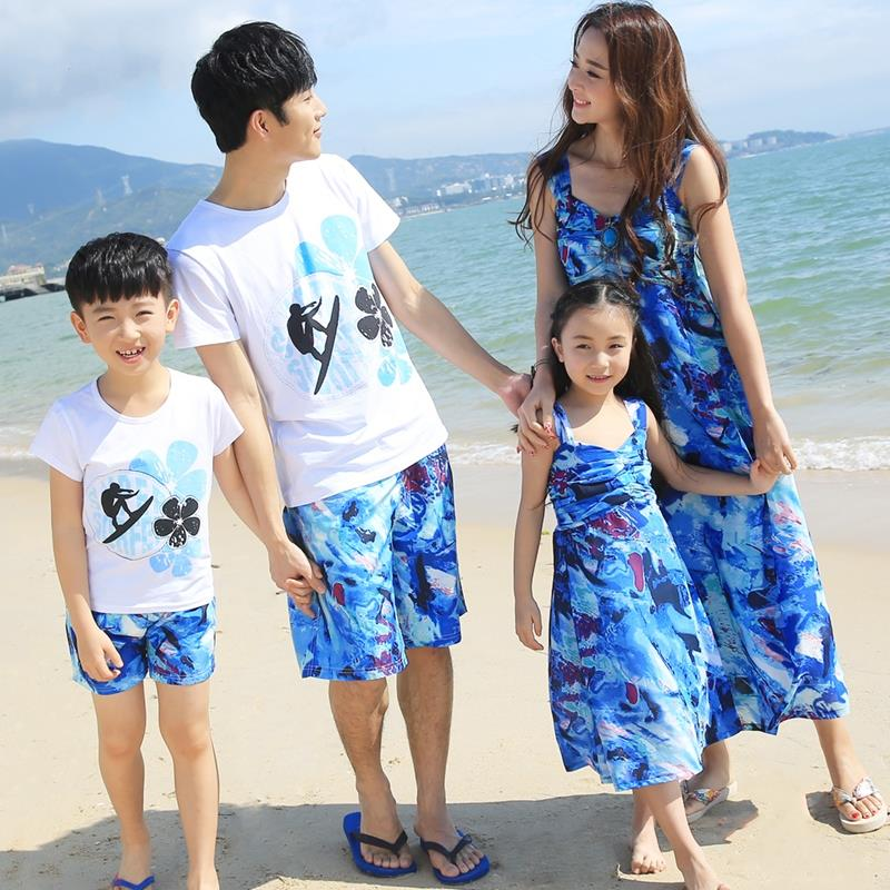 Free Shipping Summer family matching clothing Sport  girls mother dress Blue Dresses father Boy t shirt Shorts sets Outfits