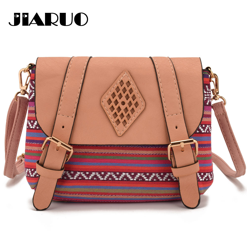 Detail Feedback Questions about JIARUO Canvas patchwork Leather Small women  Crossbody bag mini messenger bag for ladies girl flap bag national ethnic on  ... af20632cd276c