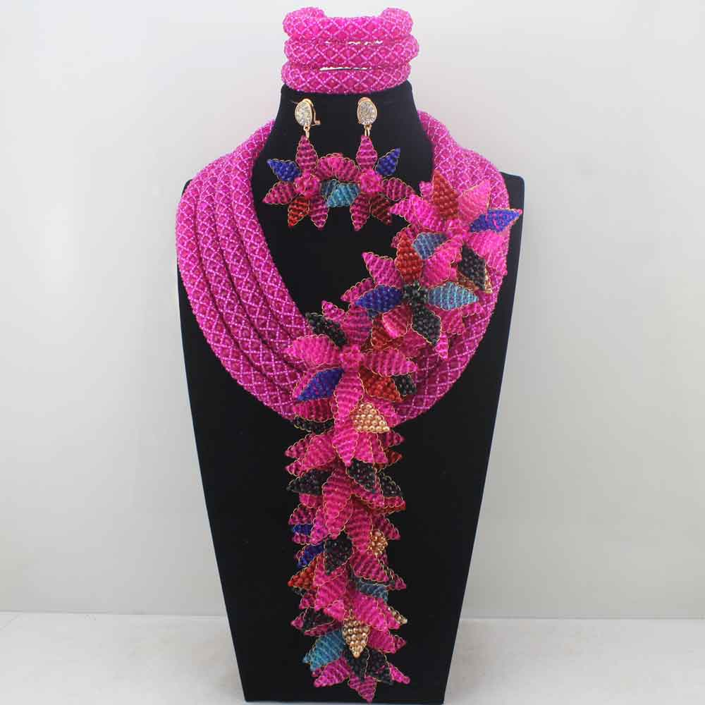 Luxury Fuschia Pink/Mix Beads Nigerian Wedding African Jewelry Sets for Brides Women Flower Jewellery Set Free Shipping LK0021