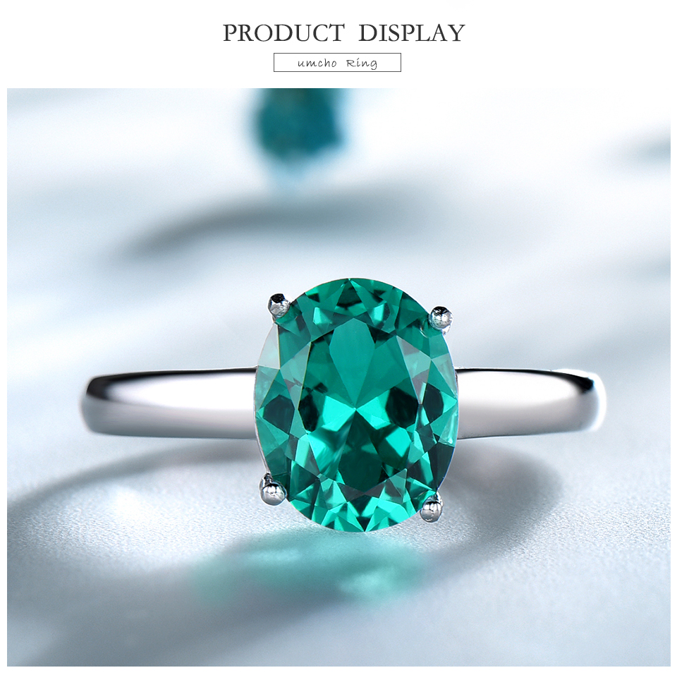 UMCHO ?Emerald   925 sterling silver ring for women NUJ095E-1-pc (3)