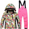 Winter Kids Girls Boys Ski Suit Waterproof SnowSuit Children Tracksuits 4 12y Family Matching Clothes Floral