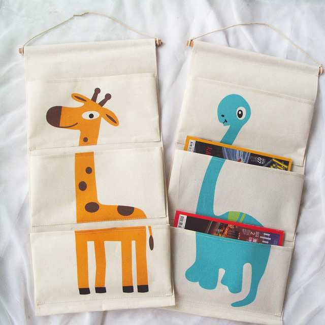 Japan Style Cartoon Animal Linen Cotton Fabric Wall Door Hanging Storage Bag Nursery School Children Room & Japan Style Cartoon Animal Linen Cotton Fabric Wall Door Hanging ...