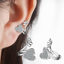 RUOYE Silver Rose Gold Color Crystal Heart Design Clip Earring Temperament Earring For Women Ear Clip Fashion Jewelry