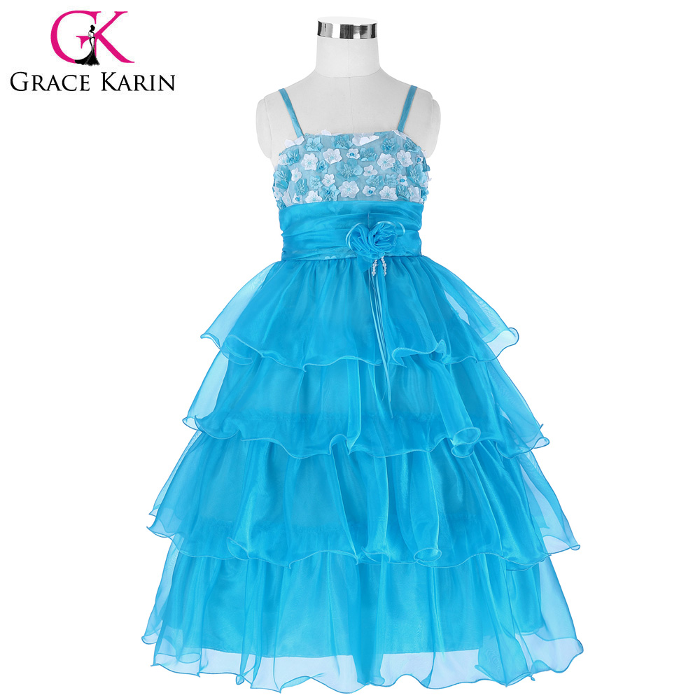 Blue Red Flowers Applique Flower Girl Dresses With Spaghetti Strap