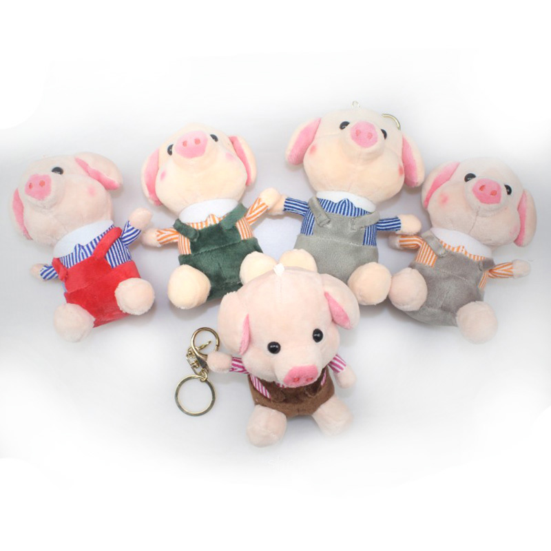Small Pendant Pig Plush Toy 13 cm Plush Dolls For Children High Quality Soft Cotton Baby Brinquedos Animals For Gift 19 colors option hot rabbit animal dolls 18 cm pendant plush toys high quality rabbit plush soft feeling send children as gift