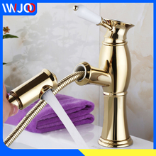 Bathroom Basin Faucets Gold Brass Pull Out Sink Faucet Shower Antique Creamic Single Hole Handle Hot and Cold Water Mixer Taps antique brass long nose water outlet pipe bathroom faucet bathtub mixer single handle control bath and shower hot cold crane
