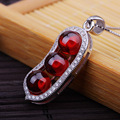 Brand new sterling 925 silver CZ necklace red garnet peace beans pendant necklace wholesale with chain jewelry