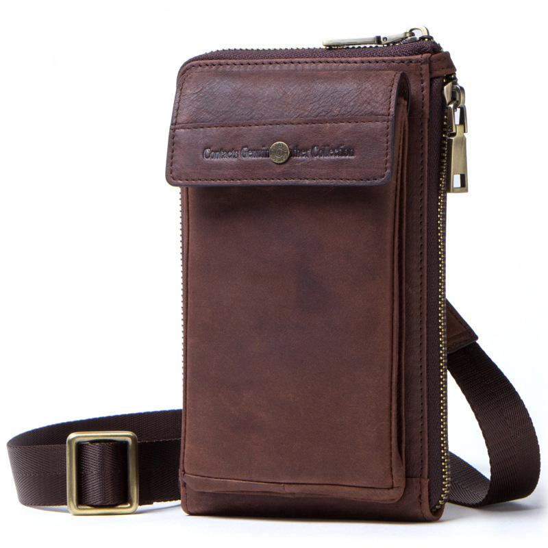 FULAIKATE 6 0 quot Vintage Crazy Horse Genuine Leather Men 39 s Pouch for iPhone X Xs One Shoulder Sling Bag Crossbody Universal Bag in Phone Pouches from Cellphones amp Telecommunications