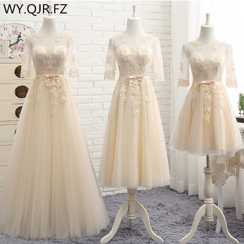 MNZ5608X#Three Styles Of Long Medium Short Champagne Half Sleeve 2019 Spring Lace Up Bridesmaid Dresses Wedding Prom Party Dress
