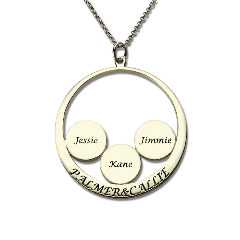 AILIN, ожерелье с семейным именем, персонализированная Подвеска для пар, детское имя, диск, ожерелье для матери, Стерлинговое серебро, ювелирны
