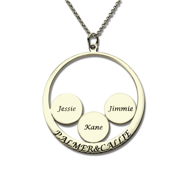 d136fbbe5a AILIN Circle Family Name Necklace Personalized Couples Pendant Kids Name  Disc Mother Necklace Sterling Silver Mother Jewelry