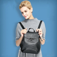 Women Bag Quality Leather Women Versatile Zipper Solid Backpack