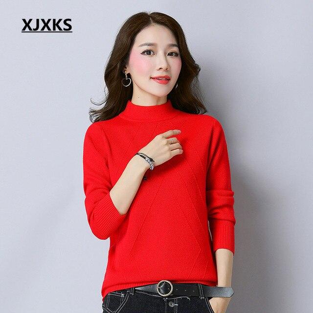 XJXKS Beautiful Women Ladies Turtleneck Sweater Fall 2017 Fashion ...